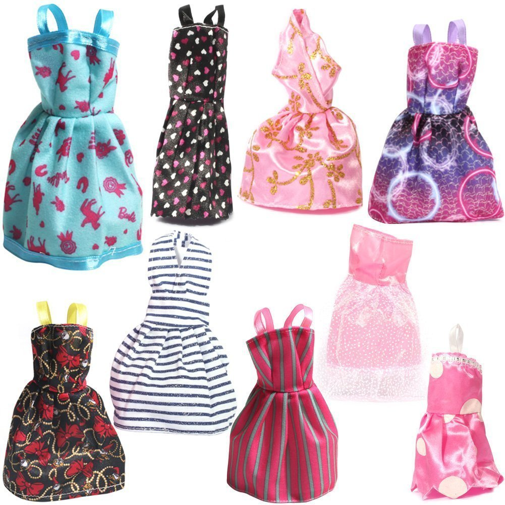9 bộ váy cho búp bê Barbie Rainbow Handmade Dresses for Barbie Doll, Pack of 9