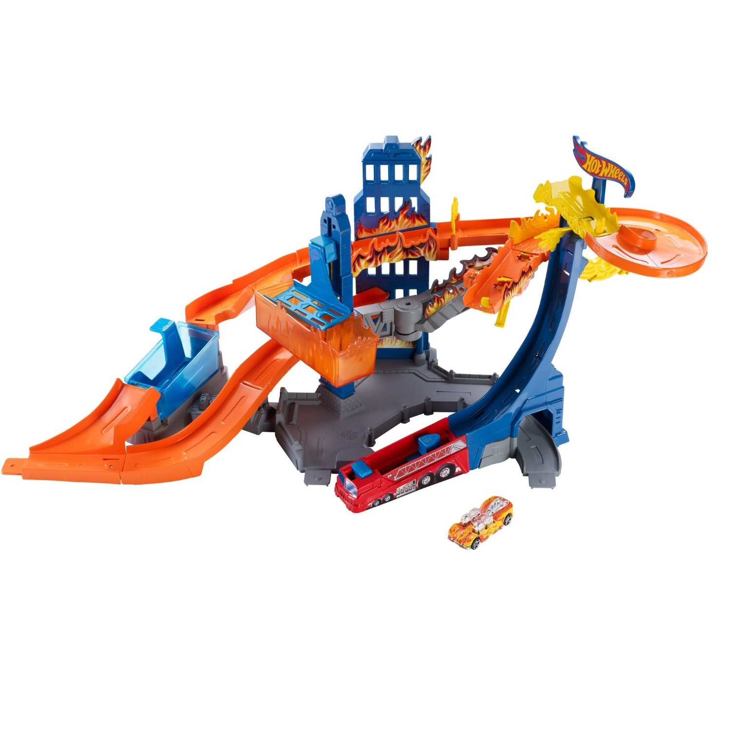 Bộ đồ chơi Hot Wheels Color Shifters Flame Fighter Playset