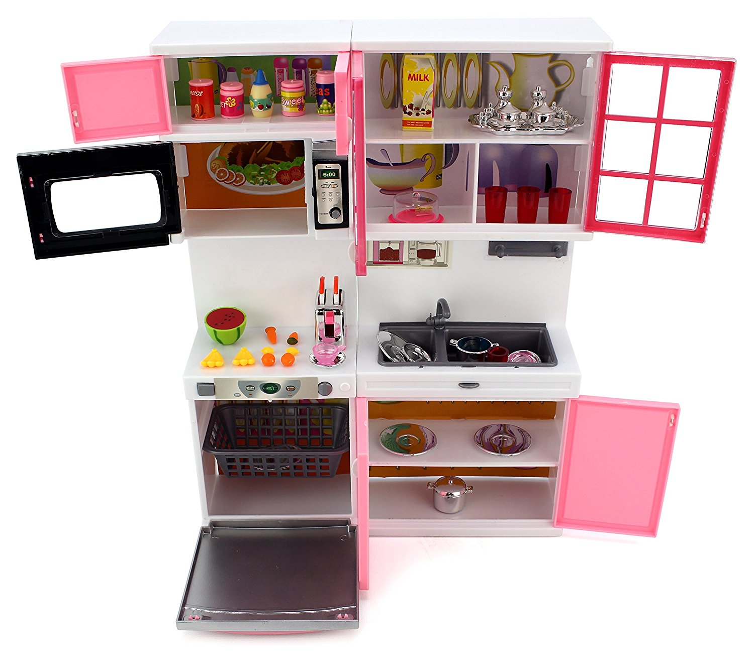 Bộ nhà bếp hồng siêu hiện đại 3 Pin 'Modern Kitchen 16' Battery Operated Toy Kitchen Playset, Perfect for Use with 11-12