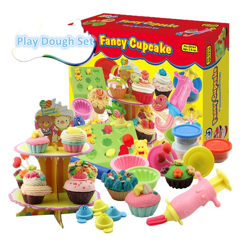 Bột nặn Fajiabao 3D Play Dough Tools with Molds and Models Cupcake