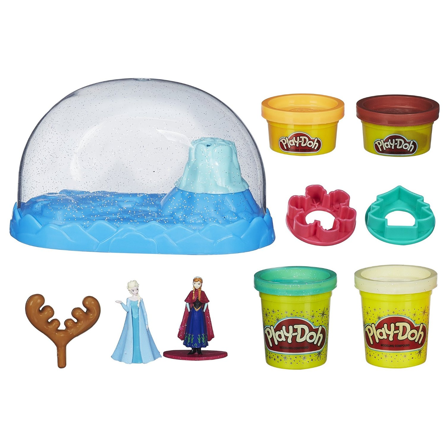 Bột nặn Play-Doh Disney Frozen Sparkle Snow Dome Set with Elsa and Anna