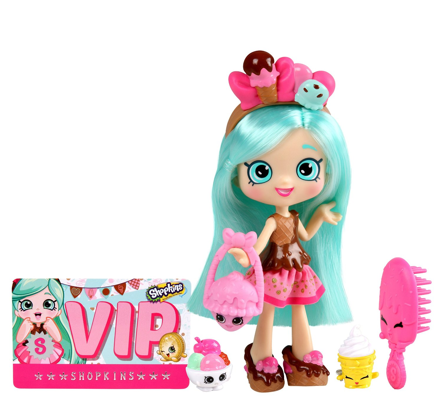 Búp bê tóc xanh Peppa-Mint Shopkins Shoppies S2 Doll Pack Peppa-Mint