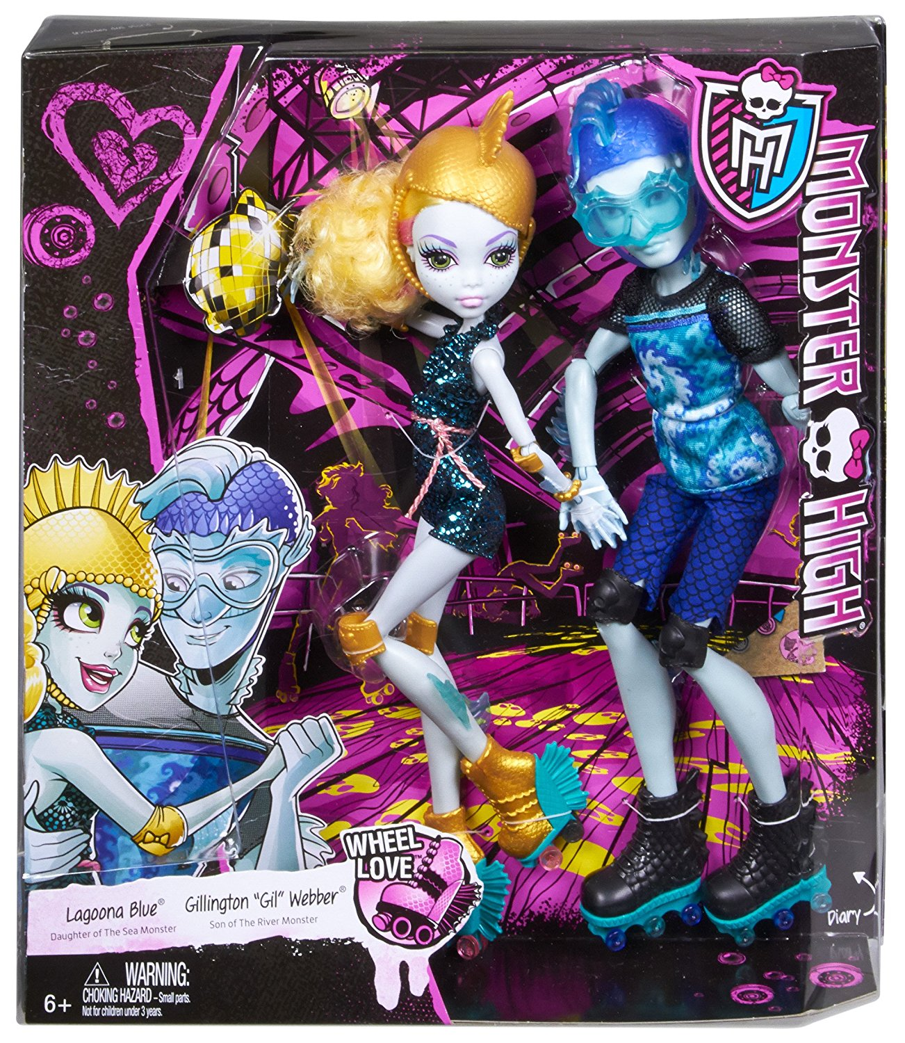 Cặp đôi búp bê Lagoona Blue và Gil Weber trượt patin Monster High Lagoona Blue and Gil Weber Wheel Love, Doll 2-Pack