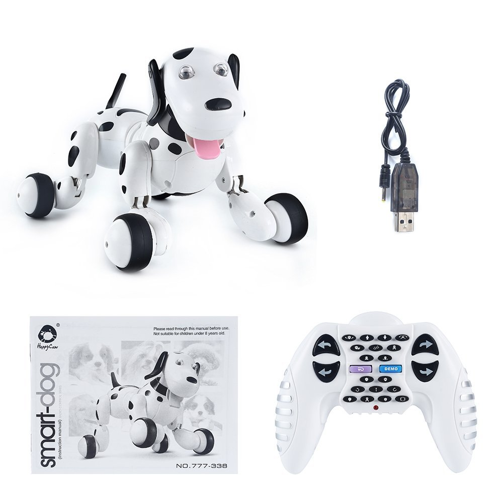 Chó đốm robot thông minh Toy SainSmart Jr. Robot Dog Smart Dog Electronic Pets Kid's Toy, Children Days Gift Remote Control Dog Toy Interactive Puppy with Immersive Sound and Humanistic Care(Black)