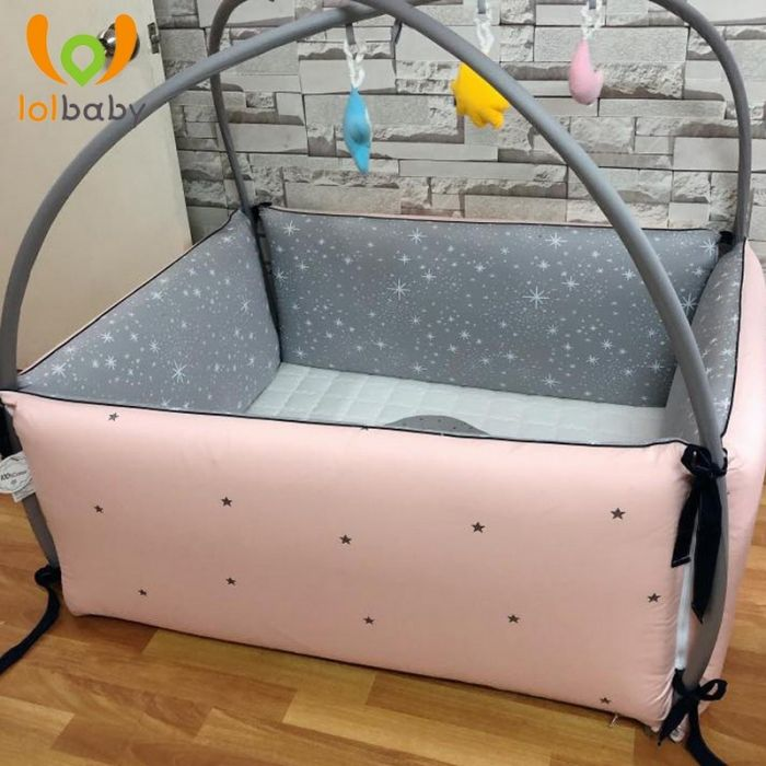 Giường cotton Bumper Simple Star Pink LolBaby